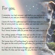 Trendy dogs love poem rainbow bridge ideas dogs is part of Dog poems - Pet Loss Grief, Loss Of Dog, Rainbow Bridge Dog, Rainbow Bridge Quotes, Pet Poems, Cat Loss Poems, Pet Loss Quotes, Miss My Dog, Pet Remembrance