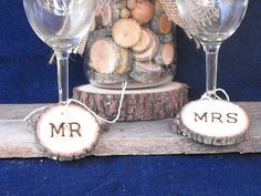 Check out this item in my Etsy shop https://www.etsy.com/listing/246307526/wedding-wine-charms-mr-mrs-toasting-wine