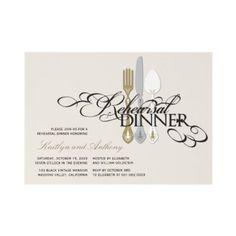Rehearsal Dinner Classic Scrolls 2 Wedding Invite by fatfatin_blue_knot