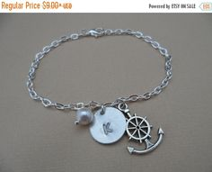 ON-SALE Nautical CharmInitial and Pearl by DaniJessBoutique