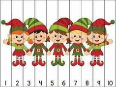 14 Christmas themed puzzles for counting practice with numbers to Simply print, cut apart, and laminate. Great for math centers! Aligned to Kindergarten Common Core Standards. Puzzles included: Counting by 10 puzzles ~