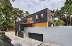 Modern Forest House Finished With Stone - Bosvilla Soest by Zecc Architecten