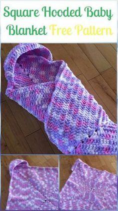 Crochet Square Hooded Baby Blanket Free Pattern