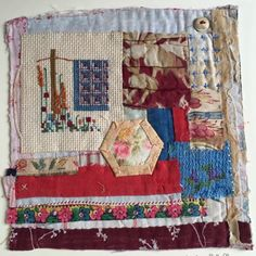 My mother's little cross stitch of a log cabin quilt incorporated into a collage on a real fragment of log cabin. Small Quilts, Mini Quilts, Stitch Book, Cross Stitch, Folk Art Flowers, Pineapple Quilt, Fabric Postcards, Crazy Patchwork, Small Sewing Projects
