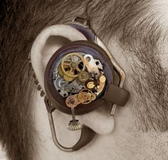 Steampunk bluetooth earpiece. If only it were functional - must make into functional piece