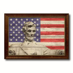 Abraham Lincoln Memorial Flag Texture Canvas Print with Brown Picture Frame Gifts Home Decor Wall Art Collectible Decoration Artwork