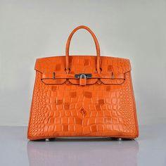 Hermes Birkin 35CM Borsa Croco in pelle H6089 Arancione