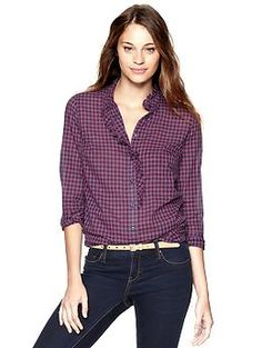 Fitted boyfriend plaid ruffle shirt | Gap