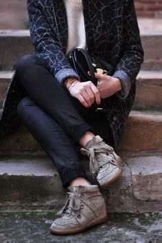 cuff dark jeans, isabel marant sneakers, layered cashmere