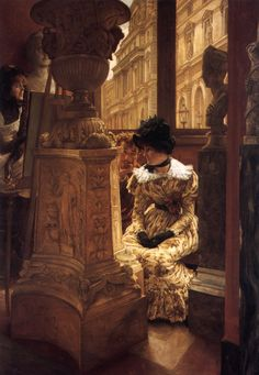 In The Louvre  - James Tissot. Interesting painting. He included himself with his muse/mistress Kathleen Kelly Newton
