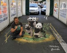 Street Art is the most trending form of art these days. Also commonly known as Chalk Art, it is basically a picture that gives you an optical illusion 3d Street Art, Murals Street Art, Amazing Street Art, Street Art Graffiti, Amazing Art, 3d Art, 3d Chalk Art, Chalk Painting, Chalk Drawings