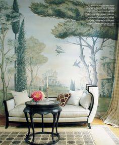 Whimsical mural and furnishings.  Dreamy