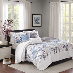 Madison Park Luna 6 Piece Quilted Coverlet Set|Designer Living (6.300 RUB) ❤ liked on Polyvore featuring home, bed & bath, bedding, quilts, madison park bedding, quilted coverlet set, quilted coverlet, floral bedding and quilted bedding