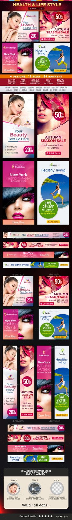 Health & Lifestyle Banners Bundle - 4 Sets Template PSD | Buy and Download: http://graphicriver.net/item/health-lifestyle-banners-bundle-4-sets/9197907?WT.oss_phrase=&WT.oss_rank=2&WT.z_author=doto&WT.ac=search_thumb&ref=ksioks