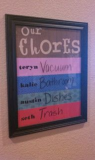 Chores board....also could be just a board with the kids name on it...and you could write notes for school, appts, etc
