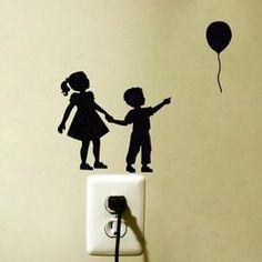Noir commutateur autocollants stickers muraux enfants et ballons -1445