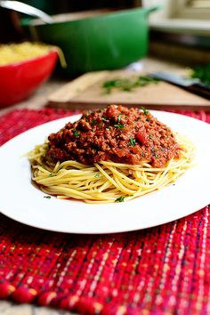 Pioneer woman's spaghetti sauce. Made a few adjustments - way less meat, added mushrooms and Worcestershire sauce, skipped Parmesan. Pretty tasty!  Served over organic quinoa harvest pasta. Served with kale salad.