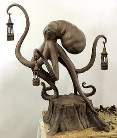 Full303-Walktopus - In Progress-Clay- 5 feet tall ㊙️Octopus  : More Pins Like This At FOSTERGINGER @ Pinterest