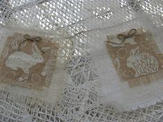 Wow, Lowered Price...Bouncing Bunny Rabbit Burlap Banner, Spring Banner by THISPLUSTHAT on Etsy