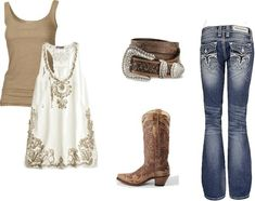 Country chic. Love the jeans and boots!!
