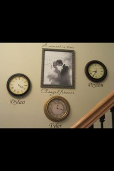 Stop the clock when your baby is born and hang the clock in the nursery or family room with their name by it. Super cute idea :)