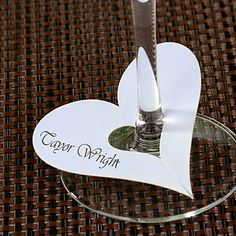Heart Shaped Place Cards for Wine Glass - Set of 12 - USD $ 3.99