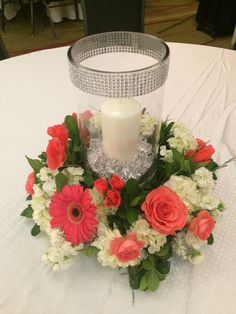 Furst Florist Centerpiece in coral with bling! #FurstEvents #daytonweddings