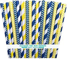 Outside the Box Papers Yellow and Navy Blue Chevron and Stripe Paper Straws Inches- 100 Navy Blue, Yellow Blue Party Themes, Yellow Party Decorations, Table Decorations, Tissue Pom Poms, Paper Pom Poms, Blue Yellow Grey, Blue Chevron, Baby Shower Party Supplies, Baby Shower Parties