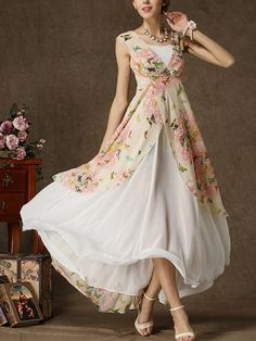 Chiffon Floral Printed Patchwork Maxi-dress Maxi Dresses from fashionmia.com