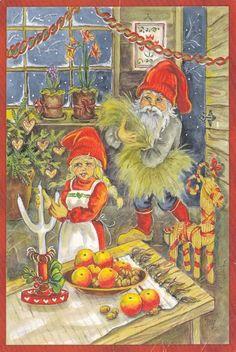 Swedish folk art postcard for Christmas