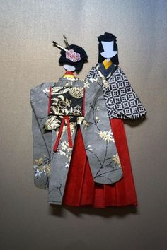 JAPANESE ORIENTAL Man And Women Couple In KIMONO Origami Paper Doll