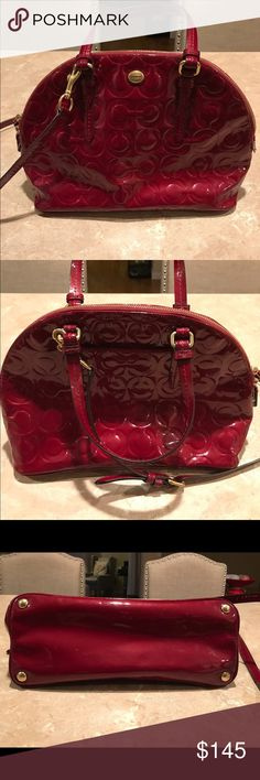 """COACH - Peyton OP Art Embossed Patent Dome Satchel Very beautiful and in very good condition! This is the brass and merlot satchel. This is the brass/merlot color. 12.5"""" (L) x 9"""" (H) x 5.5"""" (W). Handles with 5.25"""" drop. Longer strap for shoulder or cross body wear. Inside zip, cell phone, and multifunction pockets. There is a tiny spot on the inside of the bag. Photos show this little love mark. One of my absolute favorites. Unfortunately it's time to move on. Offers welcome! Coach Bags…"""