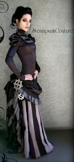 Steampunk outfit- Alaina's couture smh >>> stripey material, Andy's cogs, sofa fringing!