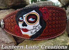 custom tooled, stamped and painted Day of the Dead bronc noseband.