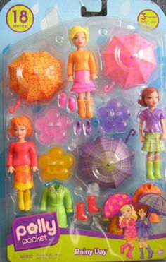 "Polly Pocket Rainy Day 18 Piece Set w POLLY, LILA & LEA Dolls (2008) by Mattel. $48.99. For Ages 4+ Years. CAUTION: Small Parts Included.. Includes: Polly Doll, Lila Doll & Lea Doll (each doll approx. 3-3/4""), 3 x Umbrellas w/Handles (each Umbrella approx. 2-1/2"" diameter), 3 x Doll Stands (yellow, pink & purple colors), Fashions for each Doll, plus extra Fashions & Shoes & Boots for added fun with the Dolls!. Polly Pocket Rainy Day 18 Pieces w Polly, Lila & Lea is a 2008..."