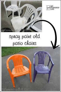 spray paint plastic chairs is part of Painting plastic chairs - How to spray paint plastic chairs You know those old white chairs you have They are pitted and ugly Easy fix with some colorful spray paint!