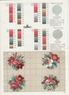Wild Rose Sprays x 4 Cross Stitch Needles, Cross Stitch Rose, Cross Stitch Flowers, Cross Stitch Charts, Cross Stitch Designs, Cross Stitch Patterns, Cross Stitching, Cross Stitch Embroidery, Hand Embroidery