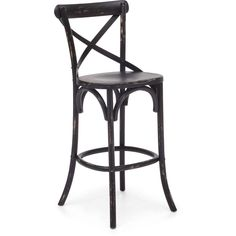 """Modeled after the most popular café chair in Europe, our versatile X-back bar chair comes in natural, antique black, and antique white. Frame is solid wood with antique metal accents.Features: Color: Antique BlackProduct Cover (Upholstery Material or Type of Metal): Elm WoodProduct Finish (Structure Materiel or Type of Wood): MetalNo assembly required.Weight Capacity: 330.7 lbs.Dimensions: 18""""W x 19.7""""D x 44.4""""HSeat Width: 17.7""""Seat Depth: 16.5""""Seat Height: 30"""""""