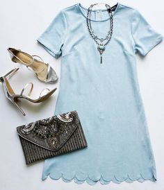 Light Blue Suede Shift Dress