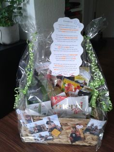 """30th birthday basket. Present box. Fresskorb. Some things inside from the song """"my next thirty years"""". For example: Focus (the magazine), pizza coupon, salad, beer, lemonade, mercy (mercie chocolate), laugh (lachgummi), cry (hankies) and so on. Just have a look at the lyrics of this song. Great for thirties birthday."""