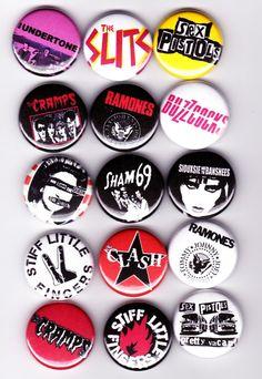15 1970s Punk badges - sex pistols the clash undertones slits ramones sham 69 buzzcocks on Etsy, $12.24