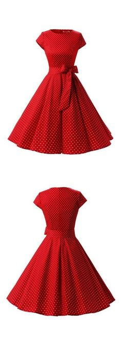 Rockabilly Vintage Style Red Polka Dots Ruched Retro Dress With Bowknot Vintage Fashion 1950s, Vintage 1950s Dresses, Retro Dress, Retro Fashion, Vintage Outfits, Vintage Shoes, Trendy Fashion, 50s Vintage, Trendy Style