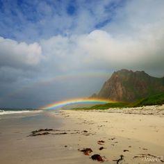 Rainbow Bleik beach, Andøya, Norway. Summer 2012