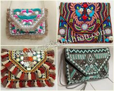 Exclusive Indian Handicrafts & Handmade Textiles by Indianbohoshop Embroidery Purse, Hand Work Embroidery, Work Purse, Kutch Work, Fringe Fashion, Designer Clutch, Ibiza Fashion, Boho Bags, Craft Bags