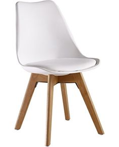 P&N Homewares® Lorenzo Tulip Chair Plastic Wood Retro Dining Chairs White Black Grey Red Yellow Pink Green Blue (WHITE)