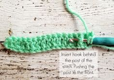 How to Crochet Front Post Double Crochet & Back Post Double Crochet - Hooked on Homemade Happiness Front Post Double Crochet, Crochet Hooks, Swatch, Stitches, Sewing Projects, Crochet Patterns, Happiness, Notes, Homemade