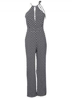 Women's Fashion Halter Sleeveless Printed Jumpsuit with Pockets