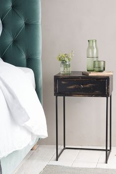 SOOT SIDE TABLE soot, side table, table, wood table, wood table, wooden side table, wood side table, dark side table, dark wood, black wood, wood furniture, furniture, bedroom, bed, bedroom furniture, velvet headboard, headboard, velvet, velvet fabric, green, greenery, teal, blue, deep blue, inky blue, beds, AW17, side table, tables