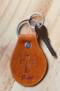 Handmade Faith Cross Leather Keychain by Tina's Leather Crafts on Etsy.com