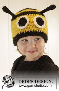 """Karnawał DROPS: czapka pszczółka DROPS na szydełku, z włóczki """"Eskimo"""". Od 1 do 8 lat. ~ DROPS Design"""